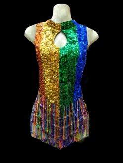 BLUE BURLESQUE SEQUIN LATIN LEOTARD NUDE DANCE Dress