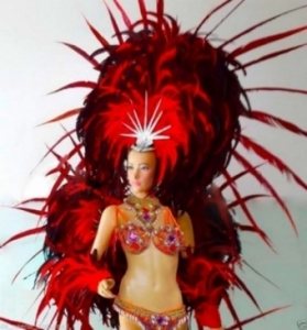 C058HB Orange Carnival Brazilian Rio Carnival Samba Dance Costume  Showgirl Headdress Backpack Wings