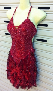 M089 Salsa Sequin Fringe Dance Showgirl Dress